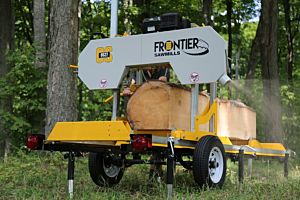 Frontier OS27 Sawmill with 5.5kW (400v, S1) electric motor & 14ft (4.2m) log deck
